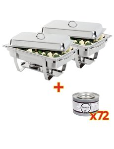 Olympia 2x Chafing Dish met 72 Brandpasta  | GN 1/1 | 9 Liter