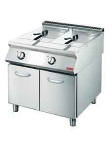 Gastro-M Friteuse 2x 10 Liter | Met onderstel | Gastro M 700 Plus | 18kW | 400V | 80x70x(H)85cm