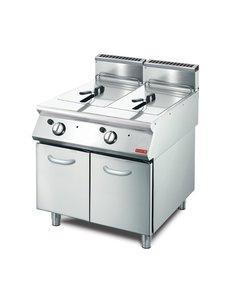 Gastro-M Gasfriteuse Gastro M | 2x 13 Liter | Met onderstel | 20,4kW | 800x700x(H)850mm