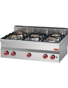 Gastro-M Gaskooktoestel | Gastro-M 600 Series | 5 Branders | 15kW | 600x900x(H)280mm
