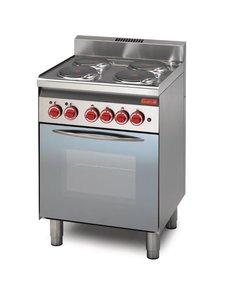 Gastro-M Elektrisch Fornuis met Oven | Gastro-M 600 Series | 4 Platen en Oven | 600x600x(H)850mm
