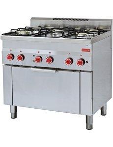 Gastro-M Gasfornuis | Gastro-M 600 Series | 5 Branders en Heteluchtoven | 900x600x(H)850mm