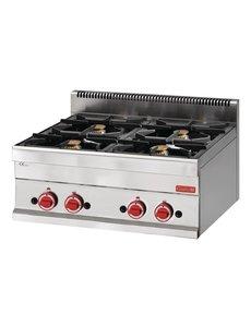 Gastro-M Gaskooktoestel | Gastro-M 650 Series | 4 Branders | 70cm Breed
