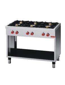 Gastro-M Gaskooktoestel | Gastro-M 650 Series | 6 Branders | 17,2kW | 1100x650x(H)850mm