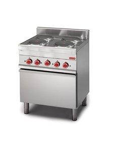 Gastro-M Elektrisch Fornuis met Oven | Gastro-M 650 Series | 4 Platen | 70cm Breed