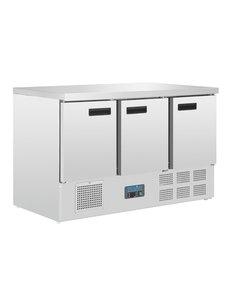Polar G-serie Koelwerkbank met 3 Deuren 368 Liter +2°C tot +5°C | 88Hx137x70cm.