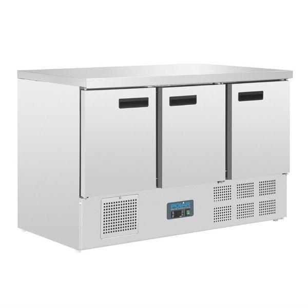 Polar Polar G-serie Koelwerkbank met 3 Deuren 368 Liter +2°C tot +5°C | 88Hx137x70cm.