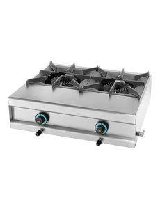 Mach Aardgas Kooktoestel met 2 Branders |  15kW Gas | 25(H)x60x73 cm.