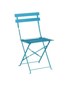 Bolero Opklapbare Stalen Stoel | Turquoise | Zithoogte 44cm | Per 2 stuks
