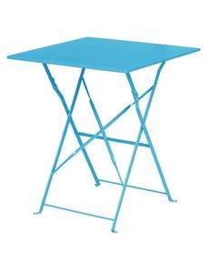 Bolero Opklapbare Stalen Vierkante Tafel | Turquoise | 60x60x(H)71cm