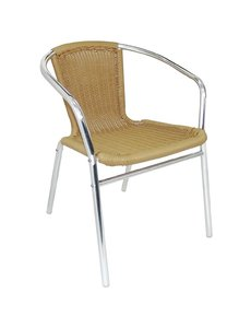 Bolero Stapelbare naturel rotan aluminium terrasstoel met armleuning | Zithoogte 45 cm. | 4 stuks
