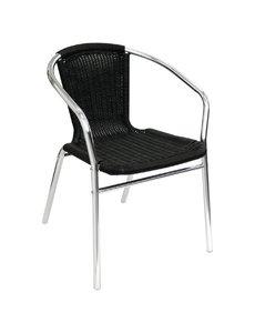 Bolero Stapelbare zwart rotan aluminium terrasstoel met armleuning | Zithoogte 45 cm. | 4 stuks