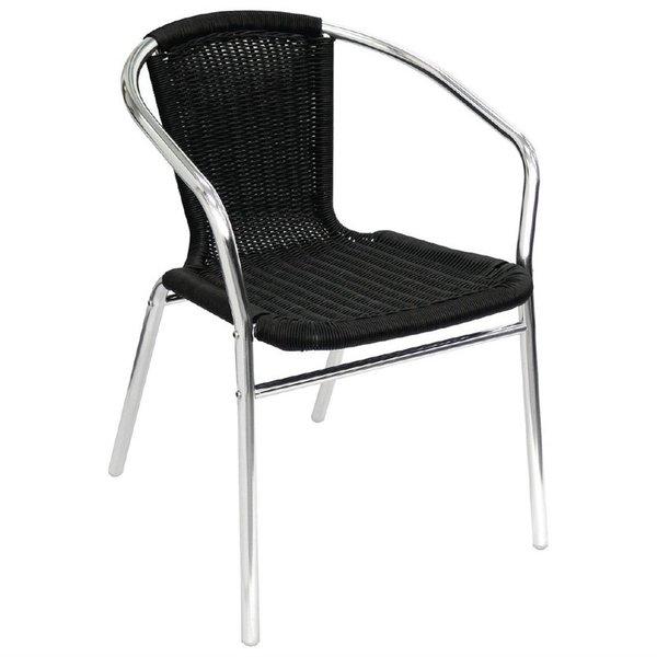 Bolero Stapelbare zwart rotan aluminium terrasstoel met armleuning   Zithoogte 45 cm.   4 stuks