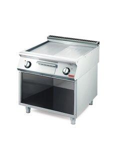 Gastro-M Elektrisch Verchroomde Bakplaat | Gastro M 700 Plus | Glad/Geribt | 80x70x(H)85cm