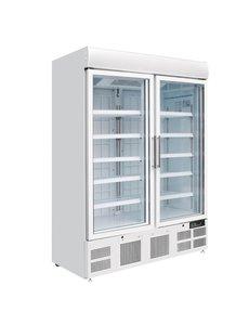 Polar G-serie Vrieskast met 2 Glasdeuren en Lichtkoof | 920 Liter  |  -22°C tot -18°C | H199x137x75cm.