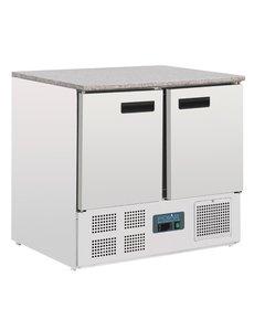 Polar G-serie Koelwerkbank met 2 Deuren met Marmeren Blad 240 Liter | +2°C tot +5°C | 88Hx90x70cm.