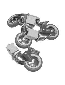Multinox Set van 4 wielen | 2 wielen met rem