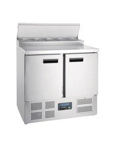 Polar Gekoelde saladette prepareer counter 254 Liter | 5 x GN1/6 | +2°C tot +8°C | 101Hx90x70cm.