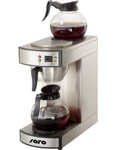 Saro Koffiezetapparaat met Glazen Kan RVS   1,8 Liter   19x36x(H)44cm