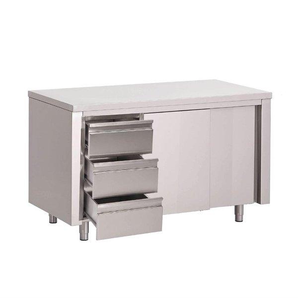 Gastro-M Werktafel met schuifdeuren en 3 laden | 160x70x(H)85cm