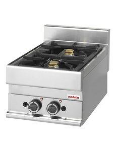 Modular Aardgas Kooktoestel met 2 Branders | 8.6kW Gas | 40x65x(H)28cm
