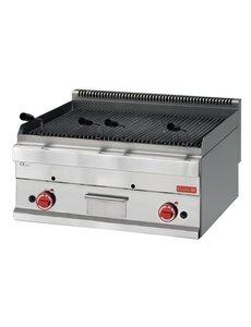 Gastro-M Aardgas Lavasteen Grill met 2 Zones | 11kW Gas | 600x700x(H)280mm