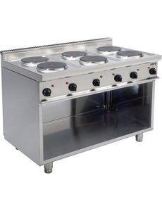 Saro Elektrisch Kooktoestel met 6 Pitten   Open onderstel   15,6kW   120x70x(H)85cm