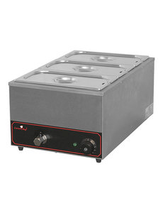 CaterChef Bain Marie | Caterchef | met Aftapkraan | 3 x GN1/3 - 150mm | 61,5x35,5x(H)27,8cm
