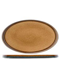 Cosy & Trendy Quintana Amber Plat Bord | Ovaal | 35,5x23,5cm | Per 2 stuks