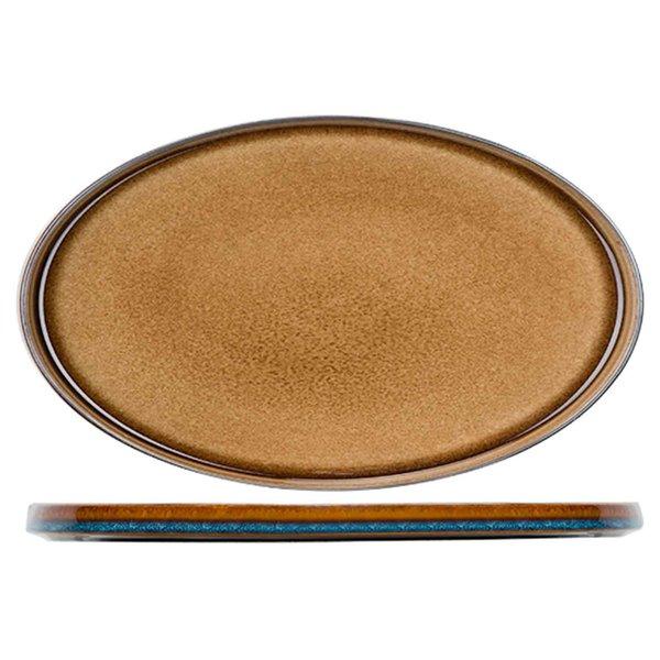 Cosy & Trendy Quintana Amber Plat Bord   Ovaal   35,5x23,5cm   Per 2 stuks