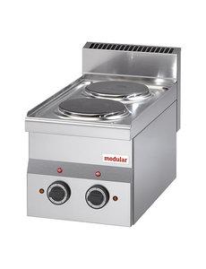 Modular Elektrisch Kooktoestel met 2 Pitten   400V/4.0kW   30x60x(H)28cm