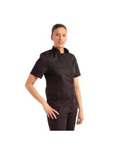 Chef Works Dames Koksbuis met rits | Korte mouw | Chef Works Springfield | Zwart