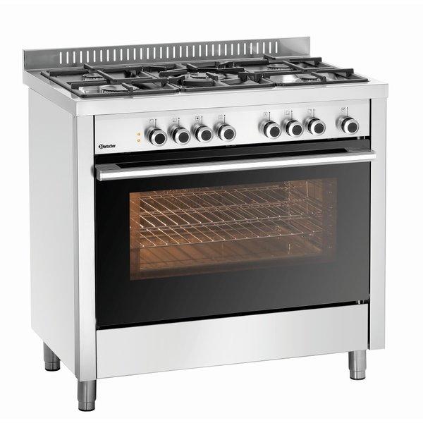 Bartscher 5-pits gasfornuis Elektrische oven met grill