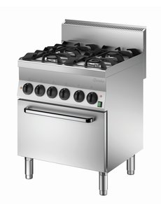 Bartscher Serie 650 Gasfornuis met 4 Pitten en Elektrische Oven | 400V / 4.2kW | Gas 18kW |  | 70x65xH87cm