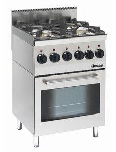Bartscher Gasfornuis met 4 pitten en Elektrische Oven | 19kW Gas / 230V | 60x60x(H)90cm