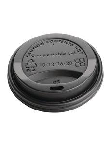 Fiesta Green Deksel voor 34cl koffiebekers | Zwart | Composteerbaar | 50 stuks