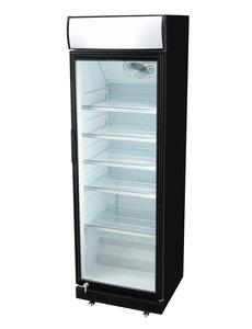 Gastro-Cool Reclame Display Koelkast Zwart/Wit | 400 Liter | Geforceerd | H193.5x62x63.5 cm.