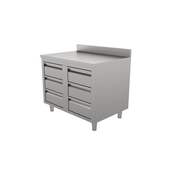 Ecoinox RVS Werktafel met 6 Laden en Achteropstand | 100x70xH85 cm.