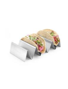 Hendi Taco Houder RVS | met 4 Vakken | 225x115x(h)50 mm.