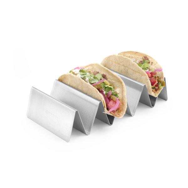 Hendi Hendi Taco Houder RVS | met 4 Vakken | 225x115x(h)50 mm.