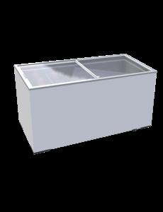 TopCold Diepvrieskist met vlakke glazen schuifdeksels 390 Liter | 1555x635x875 mm.