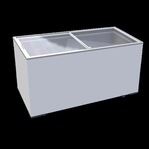TopCold TopCold IJs Vrieskist met Vlakke Glazen Schuifdeksels   390 Liter   1555x635x875 mm.