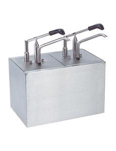 EMGA Sausdispenser Dressingbar met 2 Pompen   2x GN1/6 - 200 diep    Instelbaar tot 30 gram
