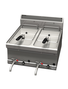 Gastro-Inox Friteuse op Gas Trendline 600 | 2x 8 Liter | 13.5kW |  600(b)x600(d)x455(h)mm
