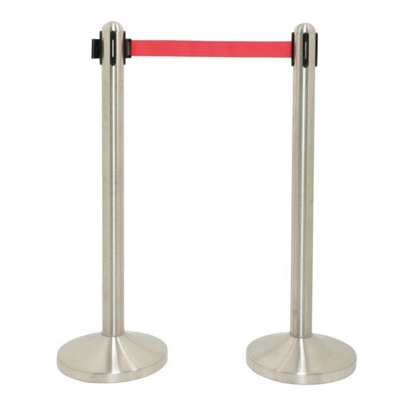 Securit Afzetpaal met Rode Band RVS | Lengte 210cm. | Ø51x(H)101cm