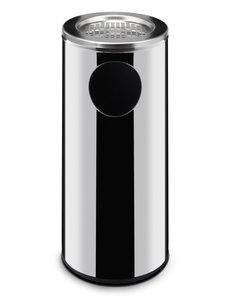 Hendi Afvalbak met asbak  | RVS | 33 Liter | Ø24x(H)66cm