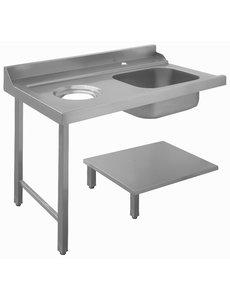 Bartscher Aanvoertafel met Spoelbak en Afval Links | B 1.200 x D 720 x H 850 mm