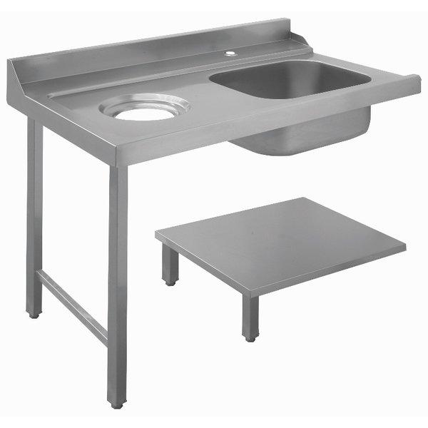 Bartscher Bartscher Aanvoertafel met Spoelbak en Afval Links   B 1.200 x D 720 x H 850 mm