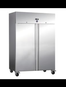 Gastro-Inox RVS Vrieskast 1200 Liter | Statisch met Ventilator |  -20°C tot -15°C | 650Watt | 134x80x201cm.