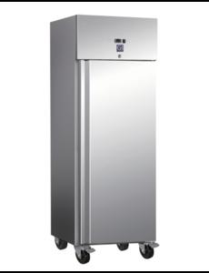 Gastro-Inox RVS Vrieskast 600 Liter | Statisch met Ventilator |  -20°C tot -15°C | 500Watt | 68x80x201cm